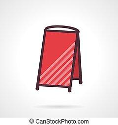 panino, cartello, vettore, rosso, vuoto, icona