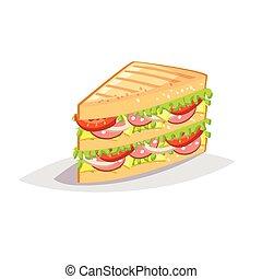 panino, colorito, fondo., cibo, digiuno, salame, bianco, cheese., cartone animato, icona
