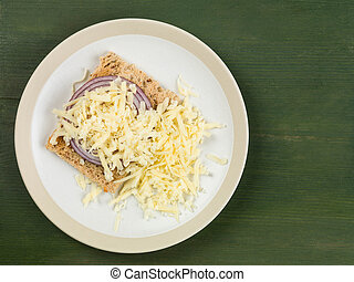 panino formaggio, aperto, tostato, cipolla