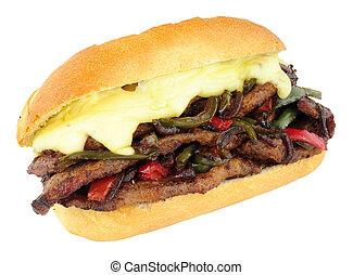 panino formaggio, peperoni verdi, bistecca, rotolo, rosso