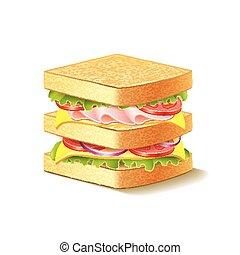 panino, isolato, bianco, vettore