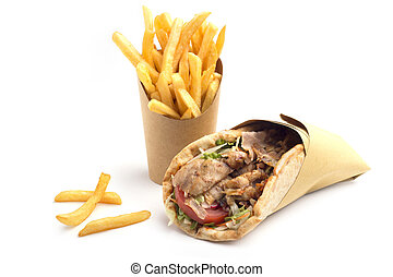 panino, kebab, frigge, francese, fondo, bianco