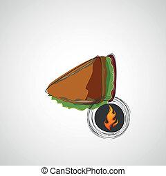 panino, light., succoso, vettore, saporito, disegno
