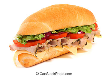 panino, lungo, isolato, bianco