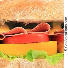 panino, pancetta affumicata, vegetables.