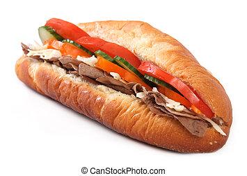 panino, sub, isolato