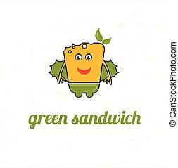 panino, verde, cartone animato