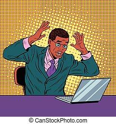 panique, cahier, lecture, homme affaires