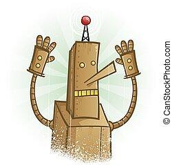 panique, caractère, robot, dessin animé