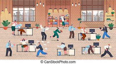 panique, idée, bureau, beaucoup, concept., employé, peu, date limite, tension travail, time., hurry.