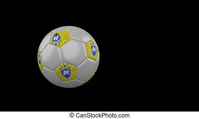 Panjab flag on flying and rotating soccer ball on transparent alpha channel