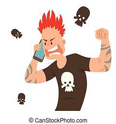 Pank ugly aggressive man character talking his cell phone vector illustration