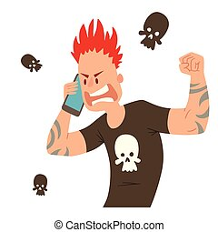 Pank ugly aggressive man character talking his cell phone vector illustration