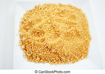 Panko Bread Crumbs on a White Plate
