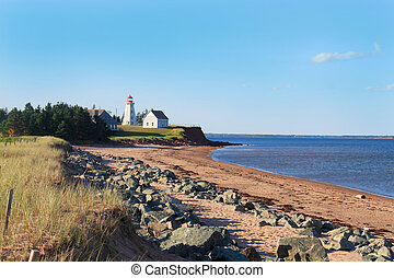 Panmure Island lighthouse in the Atlantic shore of Prince...
