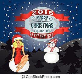 panna, śnieg, powitanie, snowman., wektor, karta, wesołe...