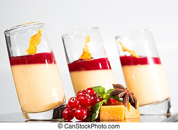 Panna Cotta - Dessert panna cotta with fresh berry on white...