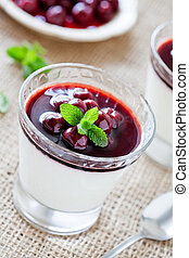 Panna Cotta In A Glass With Cherries