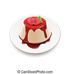 Panna cotta isolated on white photo-realistic vector illustration