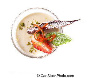 Panna cotta - Latte machiato panna cotta isolated on white