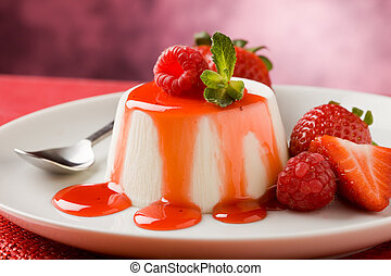 Panna Cotta - photo of italian panna cotta dessert with...