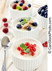 Panna cotta with berry fruits - Panna cotta dessert with ...