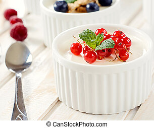 Panna cotta with red currant - Panna cotta dessert with...