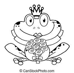 panna młoda, żaba, szkic