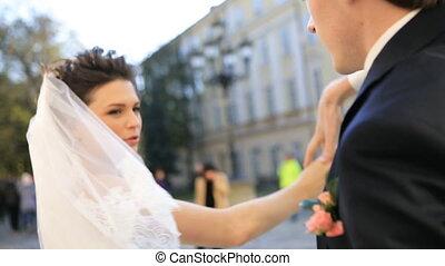 panna młoda i oporządzają, na, ślub, taniec, strzał, w, powolny ruch, zatkać się