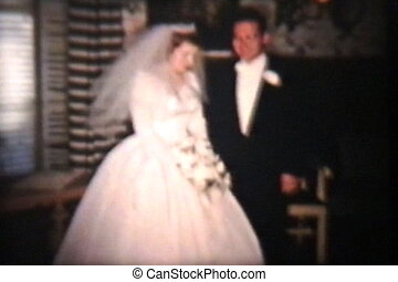 panna młoda, szambelan królewski, 1960, dzień, ślub