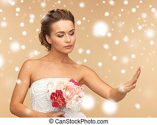 panna młoda, z, obrączka ślubna