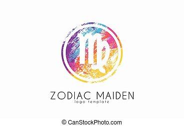 panna, symbol, twórczy, logo, zodiak, logo., design.