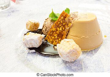 Pannacotta with caramel flambé