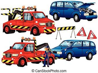 panne, voiture, camion