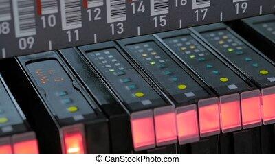 panneau, électrique, smd, statut, indicateur, éclairage, machine, contrôle, signaux