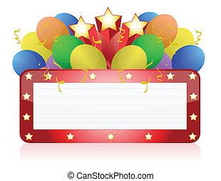 panneau affichage, à, ballons, /, confetti