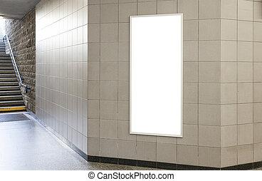 panneau affichage, affiche, ou, salle, vide