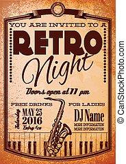 panneau affichage, affiche, piano, saxophone, retro