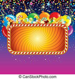 panneau affichage, anniversaire, fête