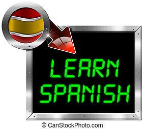 panneau affichage, -, apprendre, métal, espagnol