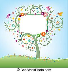 panneau affichage, arbre