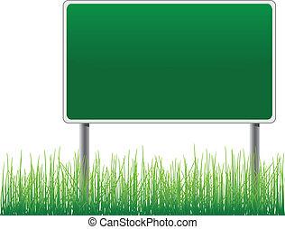 panneau affichage, au-dessous, herbe, vide, vector.