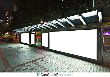 panneau affichage, autobus, vide, arrêt, nuit