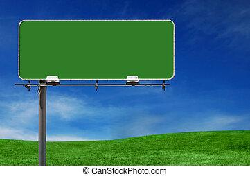 panneau affichage, autoroute, extérieur, faisant publicité...