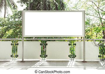 panneau affichage, blanc, annonce, rue, vide
