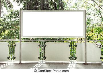 panneau affichage, blanc, annonce, rue., vide