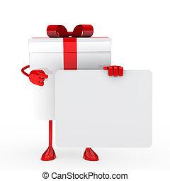 panneau affichage, blanc, brin, cadeau