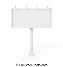 panneau affichage, blanc, isolé
