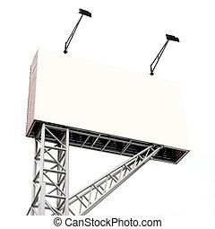 panneau affichage, blanc, isolé, annonce, vide