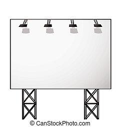 panneau affichage, blanc, ombre